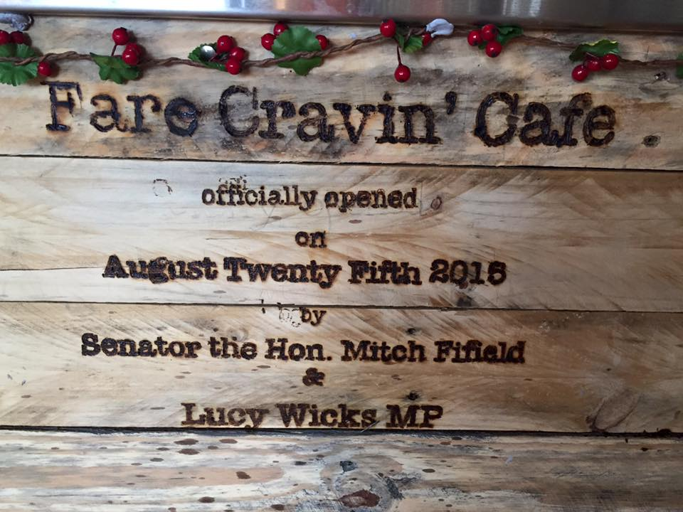 Fare Cravin' cafe official opening on 25 August 2015.