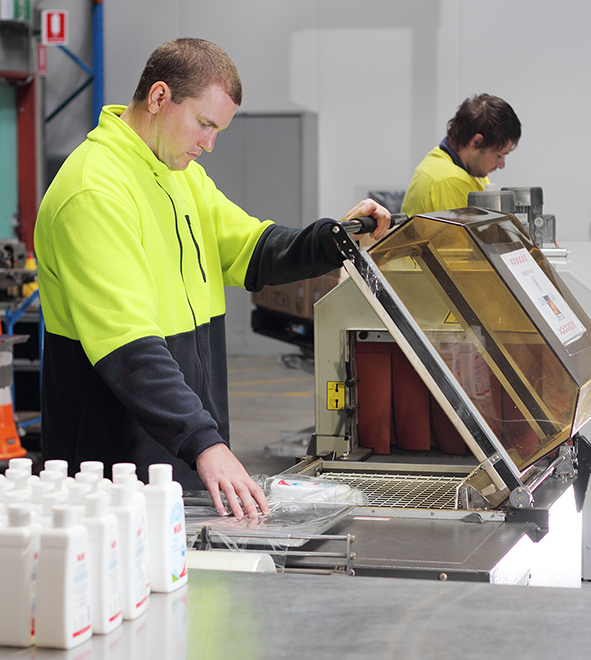 Get experience with shrink wrapping of products. Pacific CoPack supported employment.